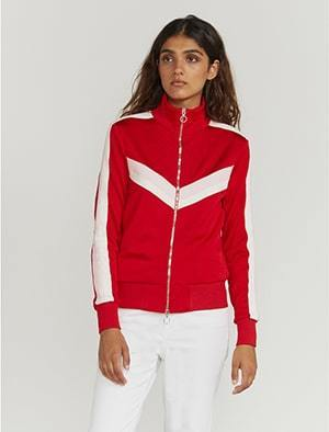 Knitted-stripe track jacket