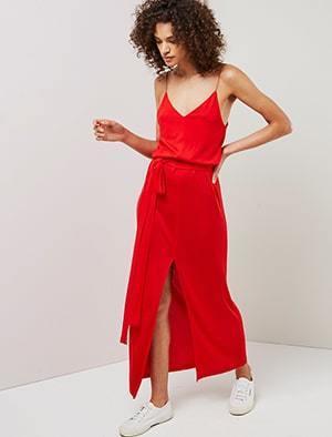 Deep V plaited jersey cami dress