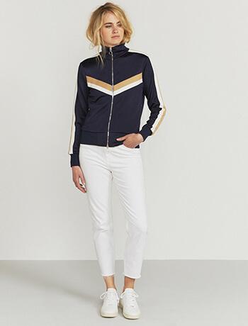 Contrast-stripe track jacket