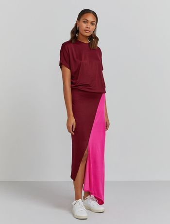 Colour-block asymmetric hem dress