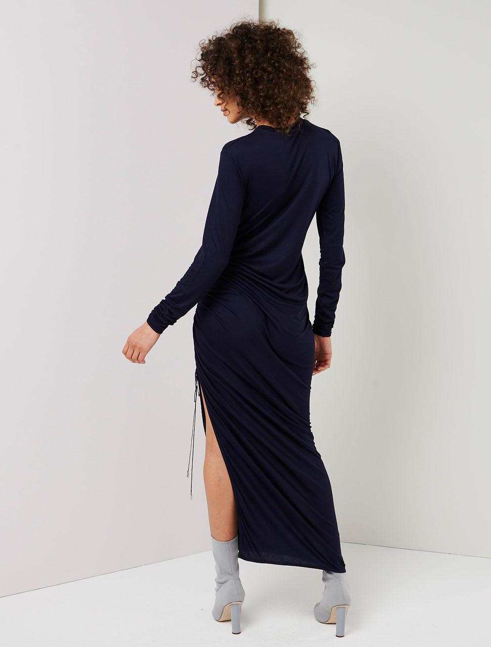 Drawcord long sleeve dress