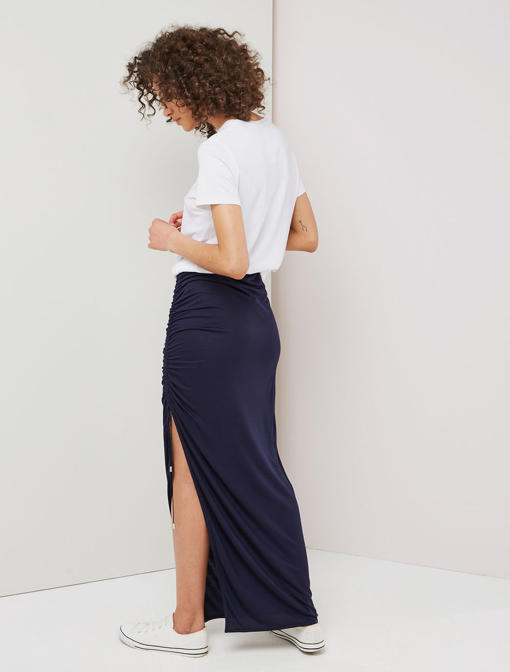 Drawcord maxi skirt