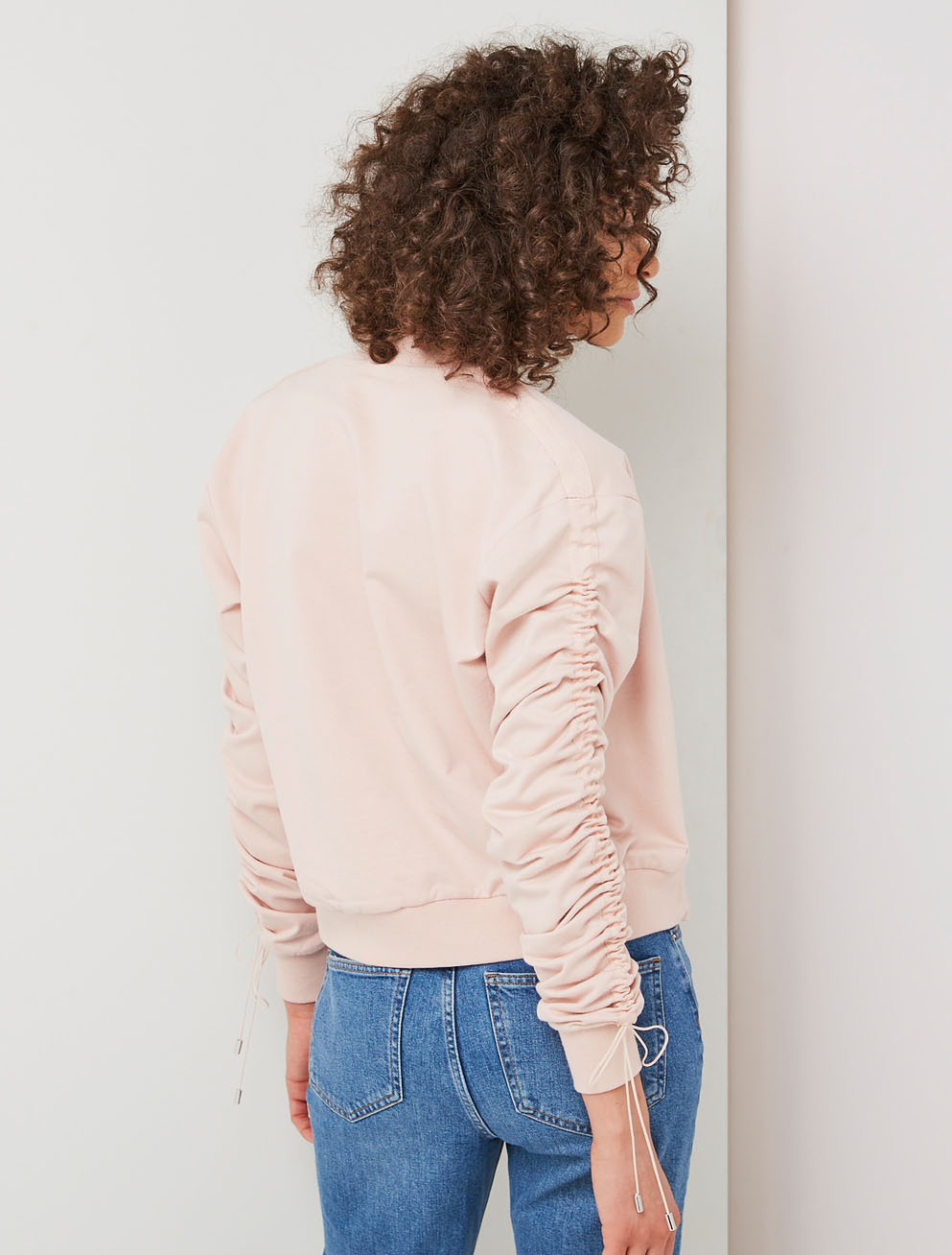Ruched drawcord bomber