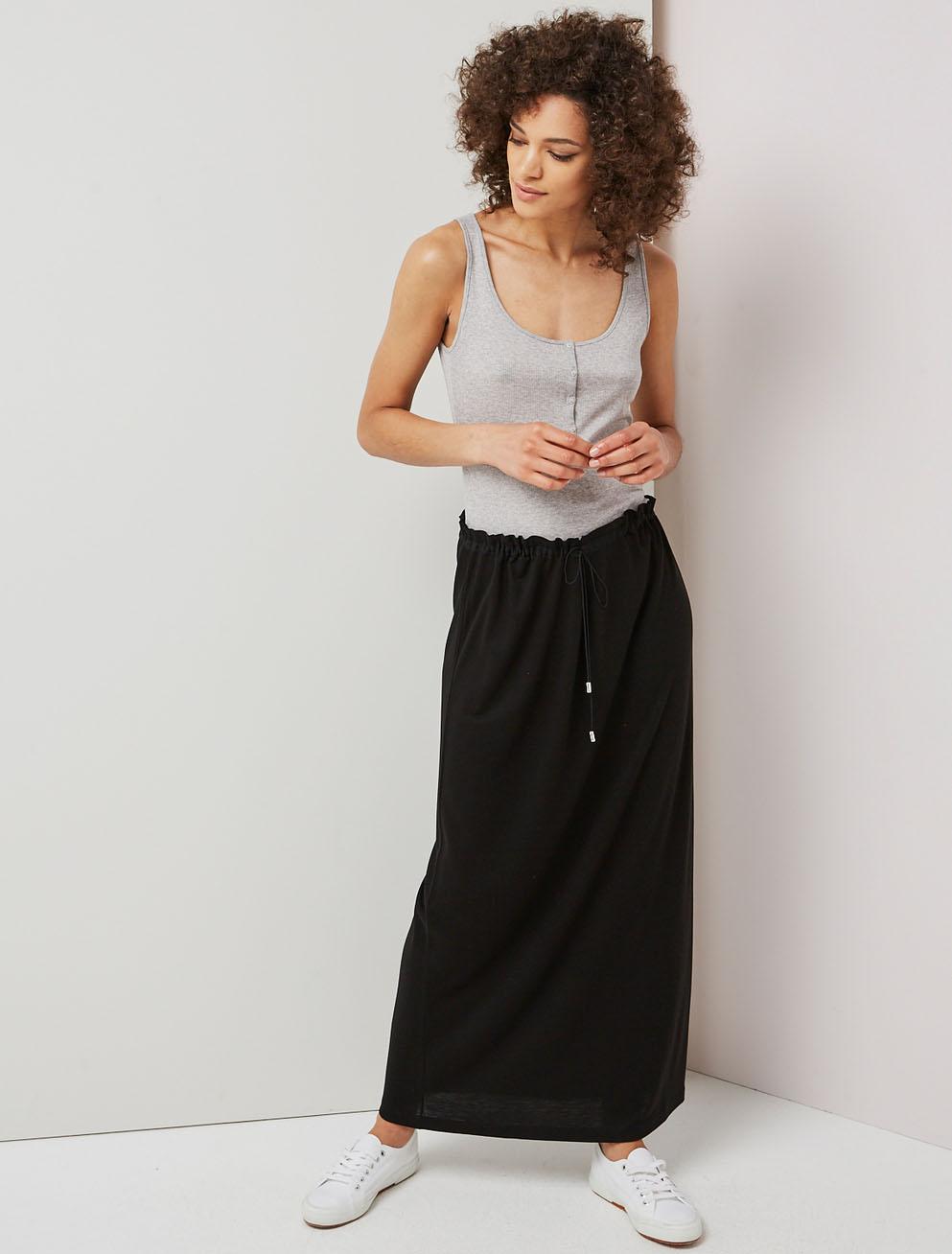 Drawcord waist maxi skirt
