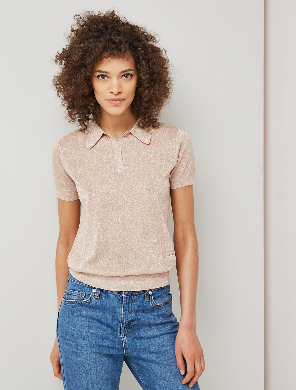 Metallic knitted polo shirt