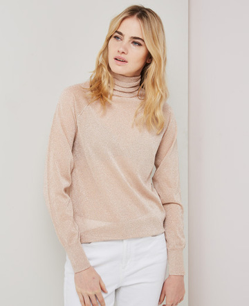 Metallic knitted turtleneck sweater