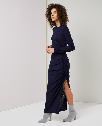 Drawcord long sleeve dress