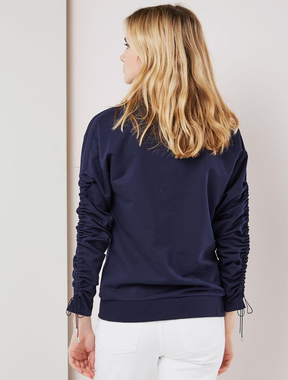 Ruched drawcord sweatshirt