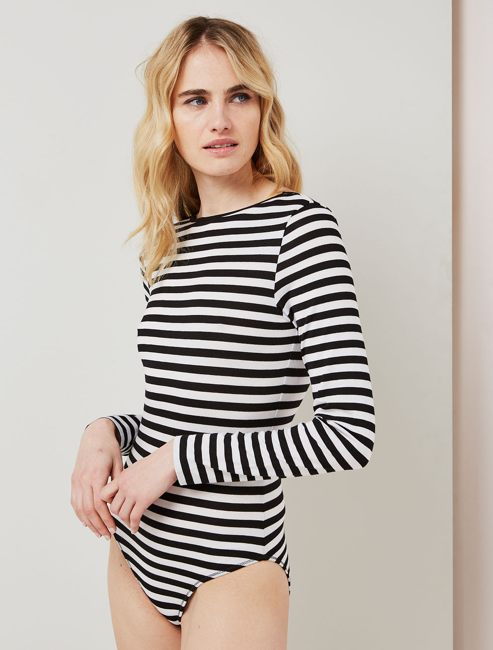 Striped backless bodysuit