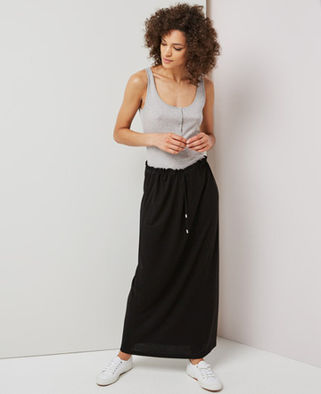 Drawcord waist maxi skirt