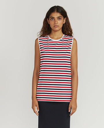 Tri-colour-stripe muscle vest