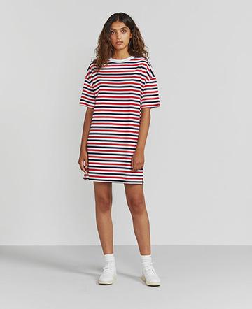 Tri-colour striped T-shirt dress