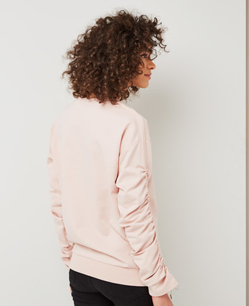 Ruched drawcord sweatshirt