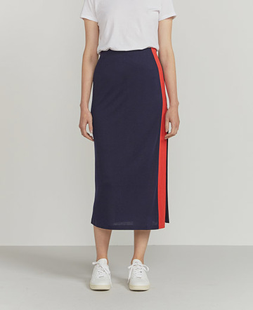 Side-stripe maxi skirt