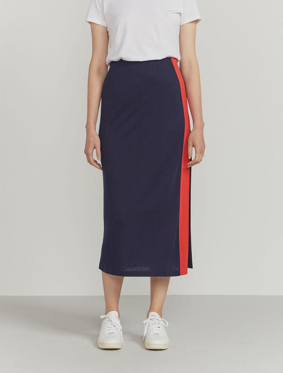 Side-stripe maxi skirt