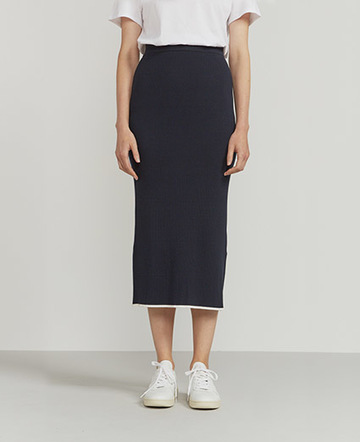 Ribbed contrast-hem midi skirt