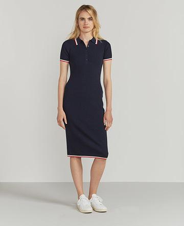 Tipped merino polo dress