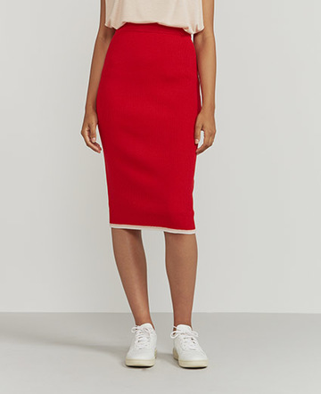Merino tipped midi skirt