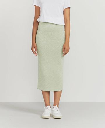 Lurex knit midi skirt