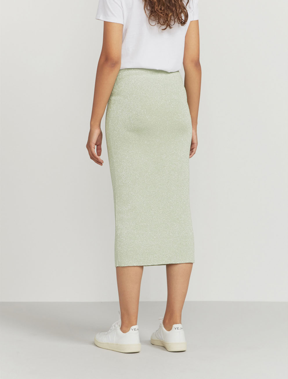 Lurex knit midi skirt