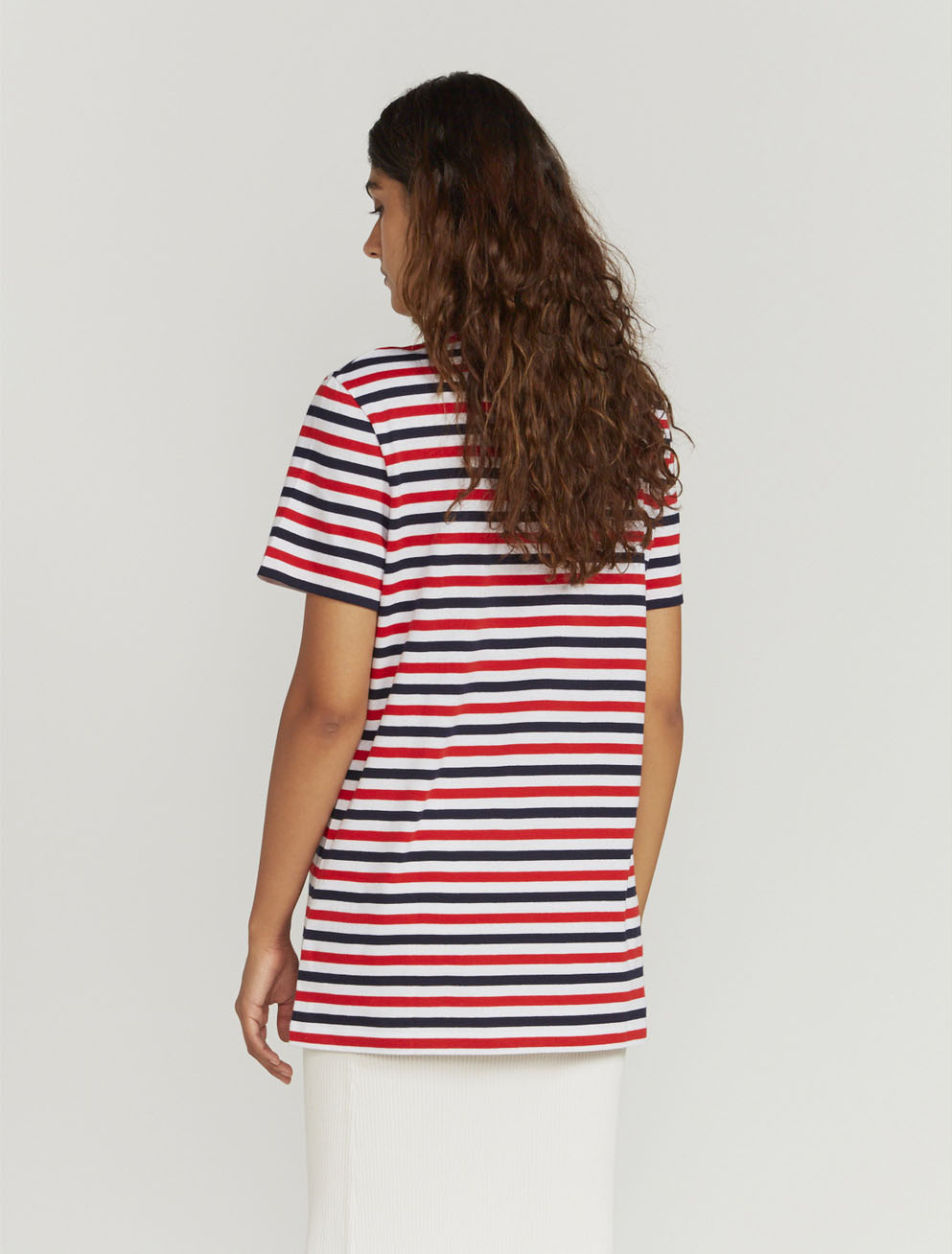 Tri-colour-stripe T-shirt