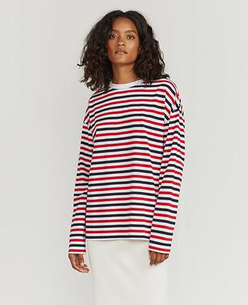 Tri-colour-stripe long-sleeve T-shirt