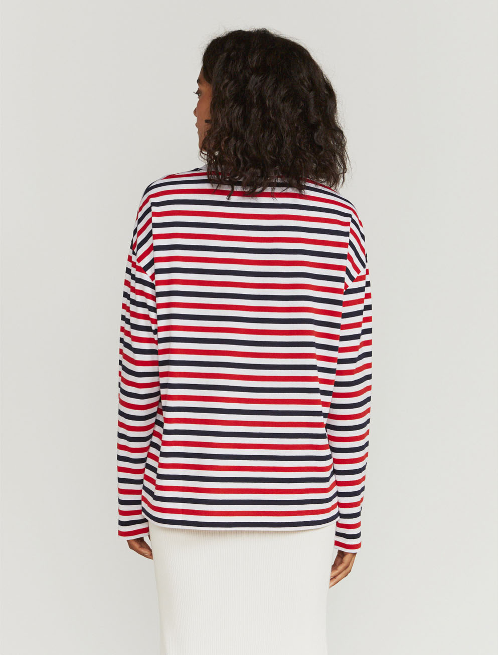 Tri-colour-stripe long-sleeve T-shirt