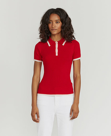 Tipped merino polo shirt
