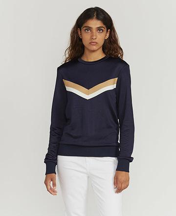 Knitted-stripe sweatshirt