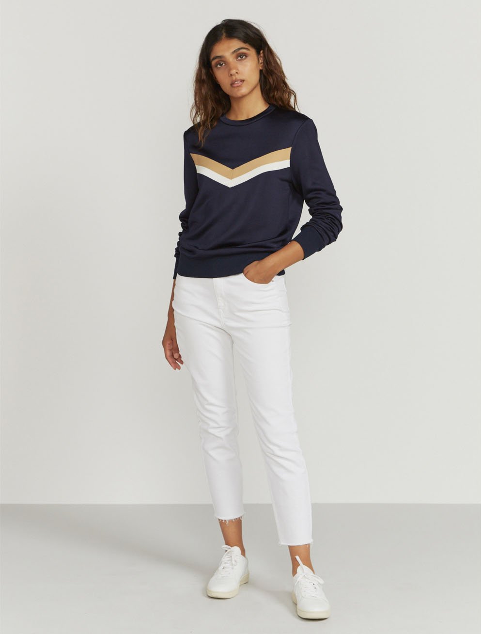 Knitted-stripe sweatshirt