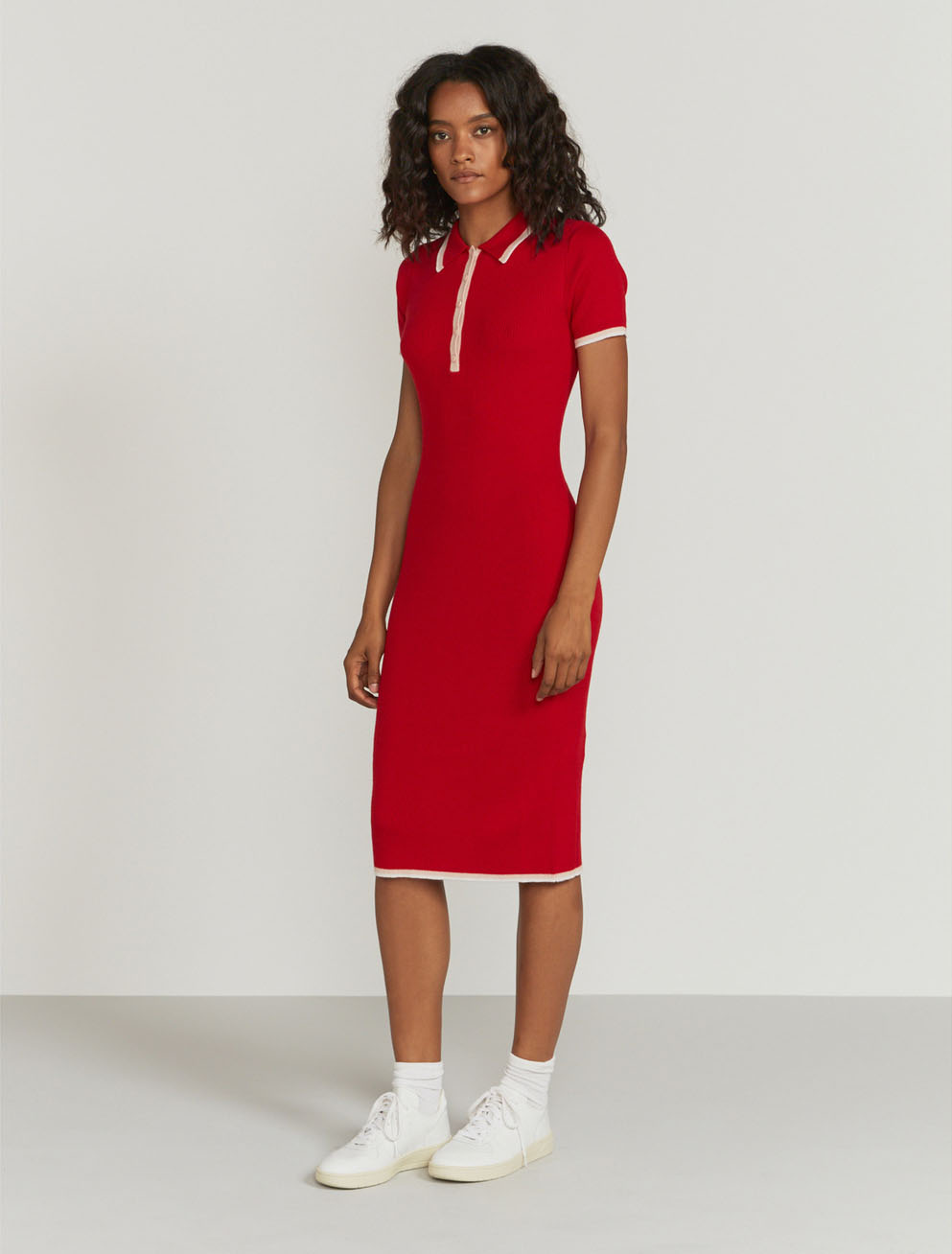 Tipped merino polo dress