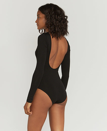 Tencel black backless bodysuit