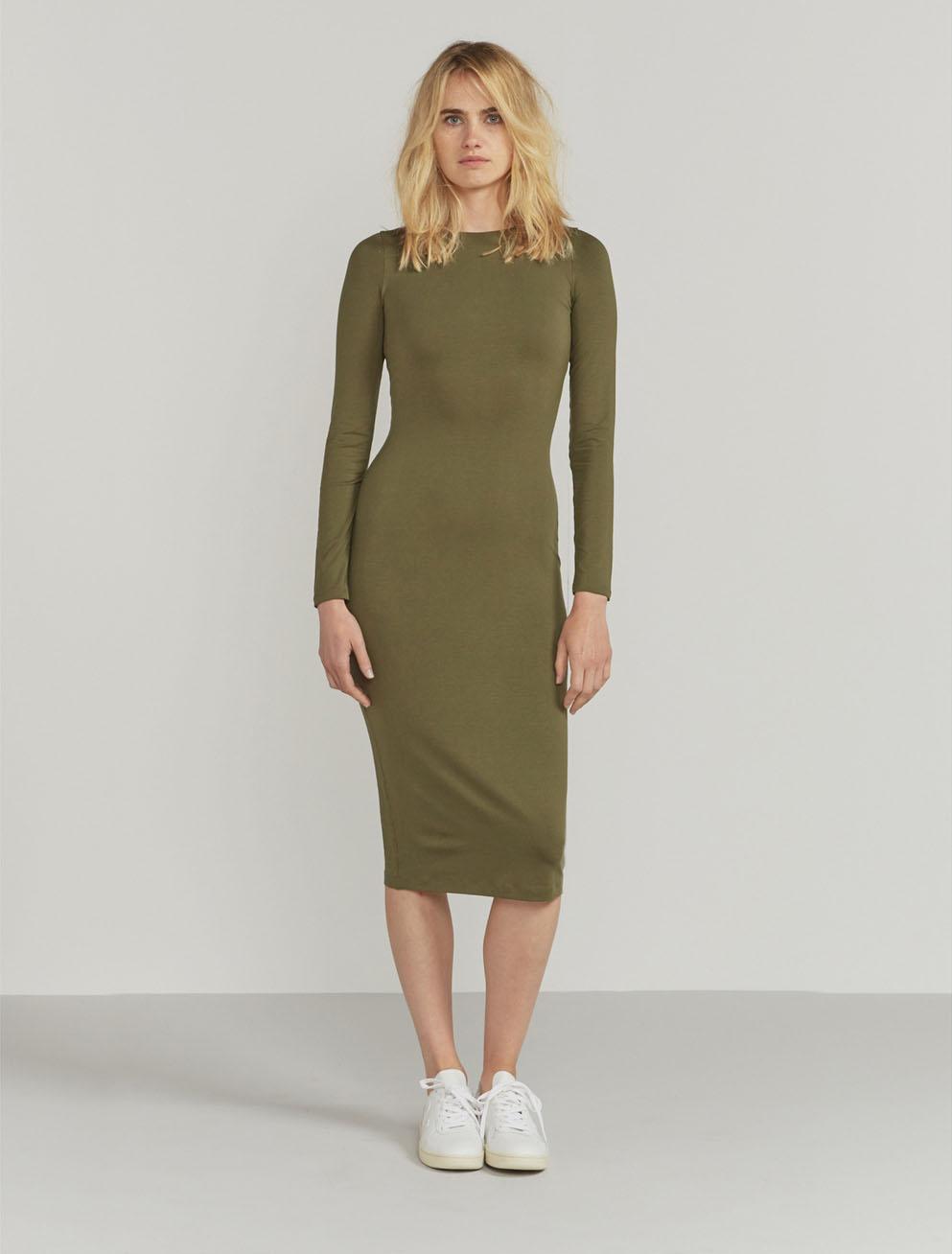 Tencel fitted long-sleeve dress