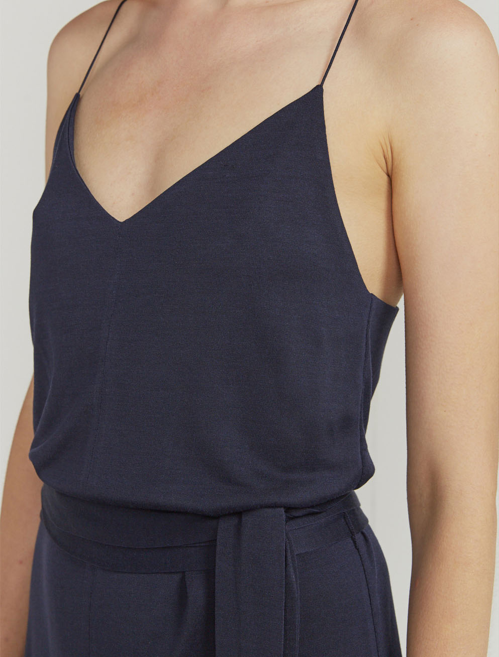 V plaited jersey cami dress