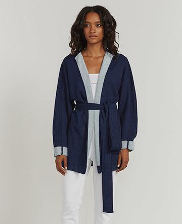 Indigo wrap jacket