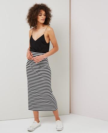 Striped column maxi skirt