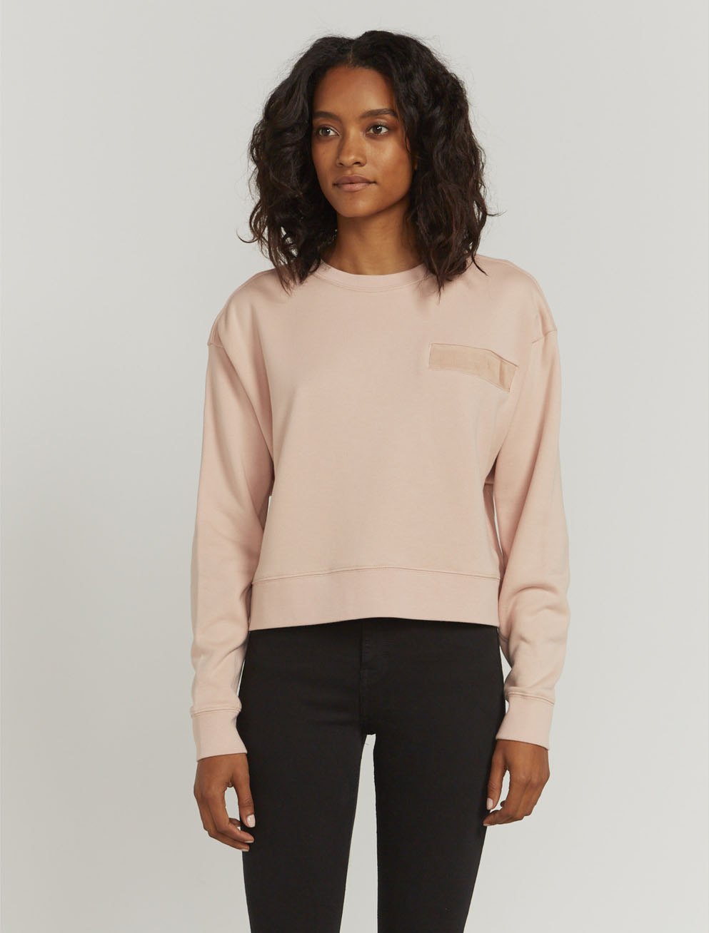 Utility pocket-front sweatshirt