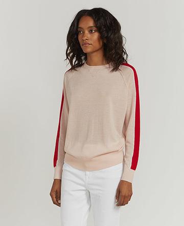 Stripe-sleeve raglan sweater