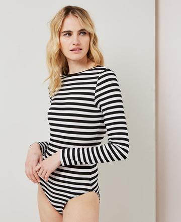 Striped backless bodysuit
