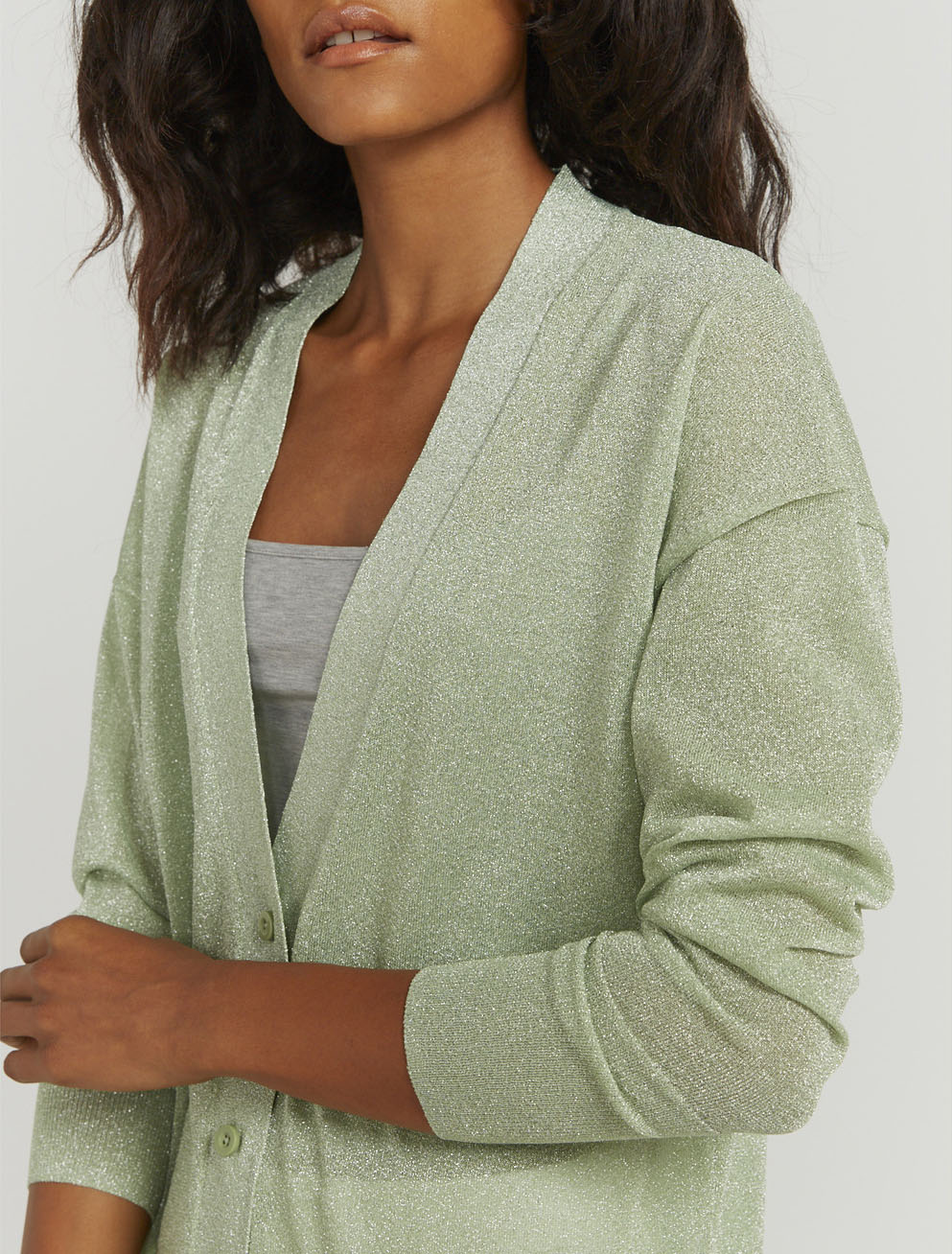 Lurex knit cardigan