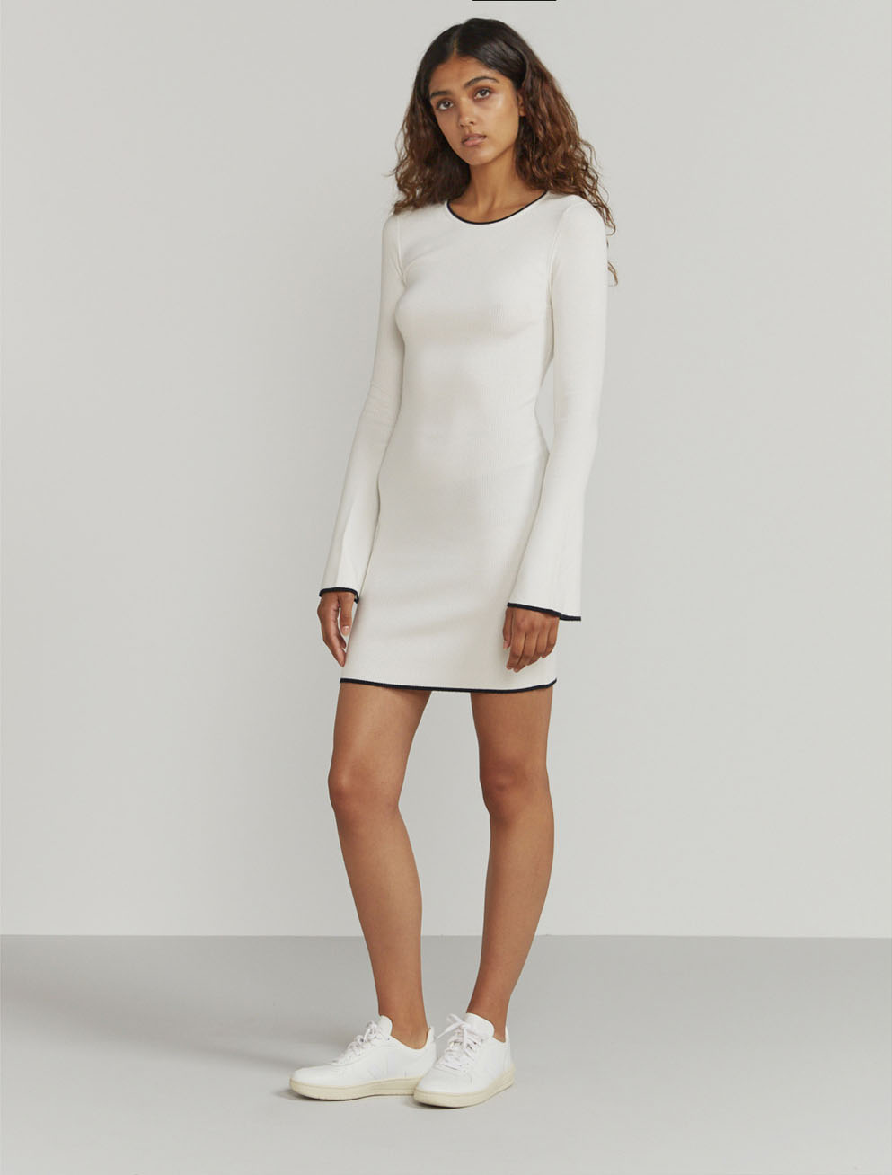 Ribbed contrast-hem dress