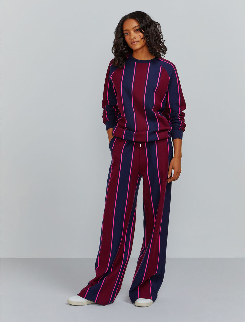 Organic cotton pyjama stripe sweatshirt