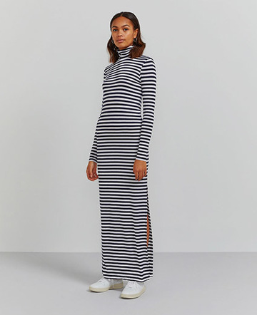 Roll neck striped maxi dress