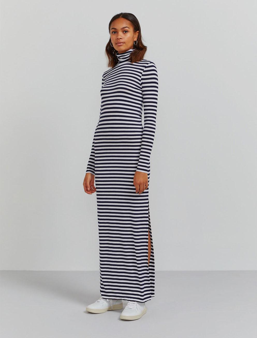 Roll neck striped maxi dress