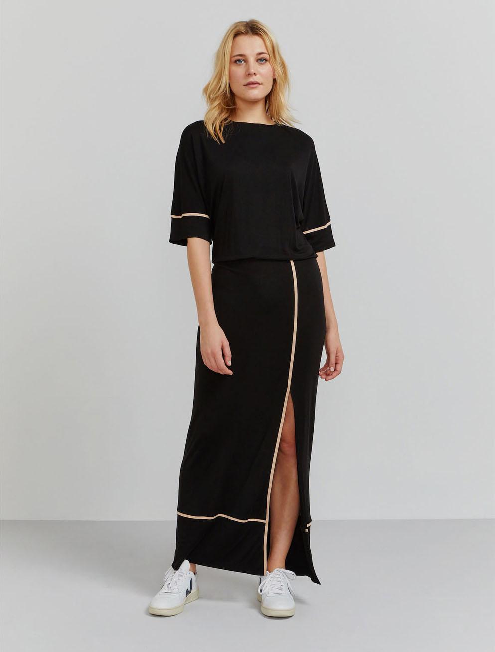 Tencel pyjama piped maxi dress
