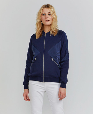 Peace silk panel bomber