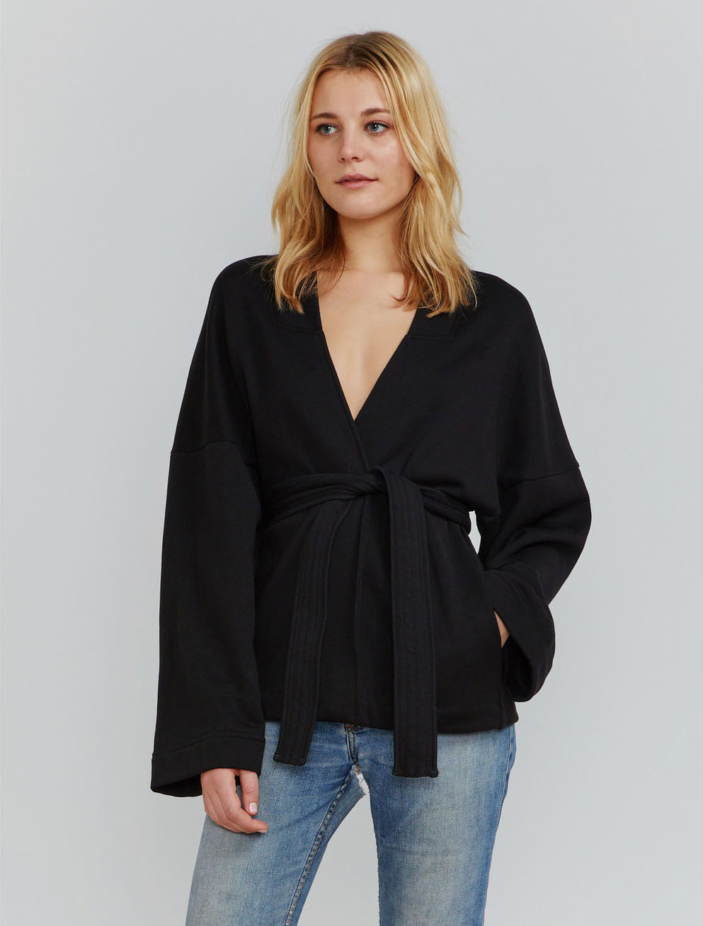 Organic cotton wrap jacket