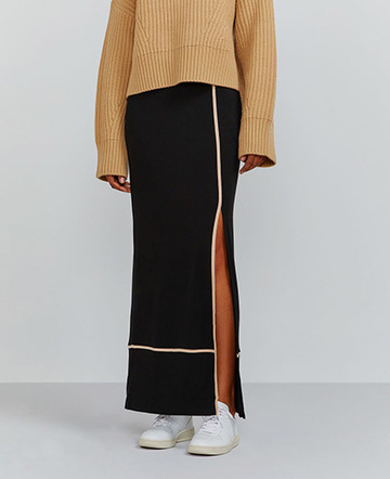 Pyjama piped maxi skirt