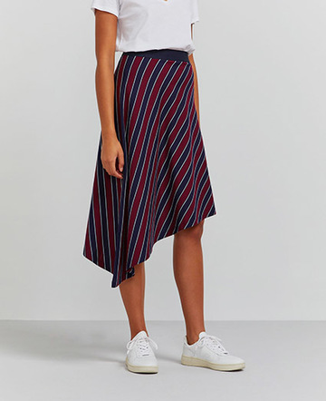 Organic cotton pyjama stripe asymmetric skirt