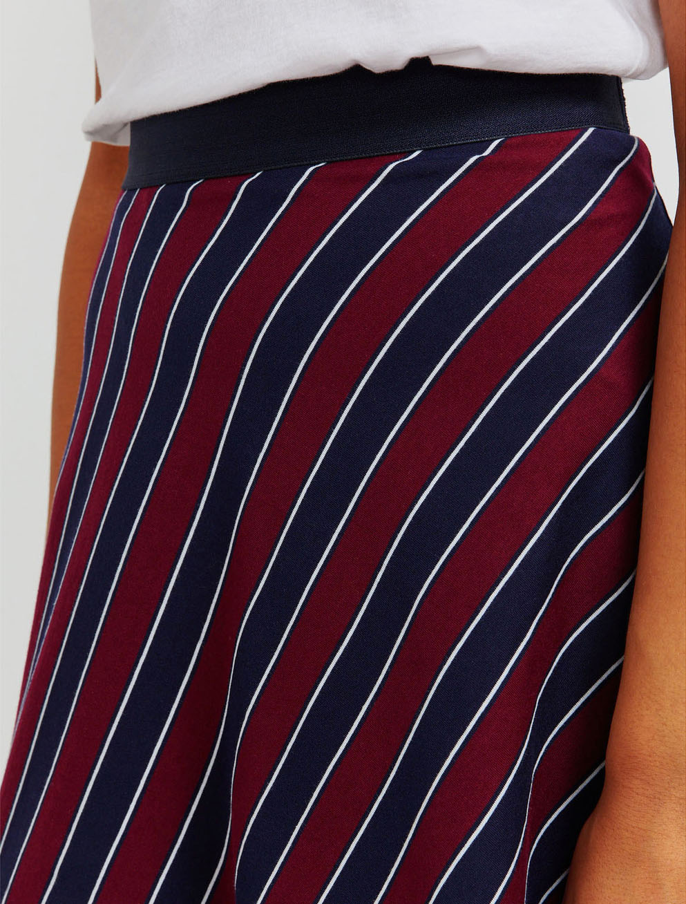 Organic cotton pyjama stripe asymmetric skirt